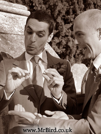 Groom and best man with the wedding rings